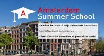 VU Amsterdam Summer School Scholarship for International Students in Netherlands, 2018