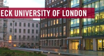 HCA Fully-FundedPhD Studentships at Birkbeck, University of London in UK, 2018