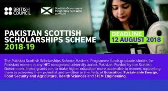 British Council Pakistan Scottish Master Scholarship Scheme in Pakistan, 2018-2019