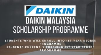 Daikin Malaysia Group Scholarship Program for Malaysian Students in Malaysia, 2018
