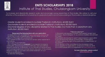 ENITS Research Scholarship for Thai and International Students at Chulalongkorn University in Thailand, 2019