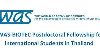 TWAS-BIOTEC Postdoctoral Fellowship for International Students in Thailand