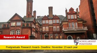 RGS-IBG Postgraduate Research Awards for UK or Overseas Students, 2019
