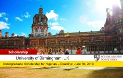 University of Birmingham SI-UK Nigeria Outstanding Achievement Scholarships, 2019
