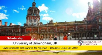 University of Birmingham SI-UK Nigeria Outstanding Achievement Scholarships, 2019