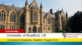 University of Bradford Sports Scholarship Scheme in the UK, 2019