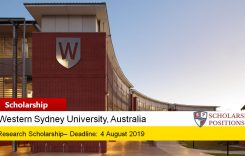 Western Sydney University Research Scholarships in Australia, 2019-2020
