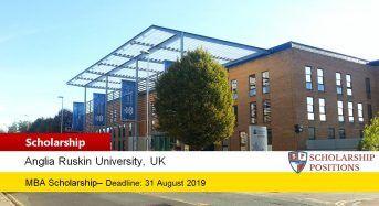 Anglia Ruskin University MBA funding for International Students in UK, 2019-2020