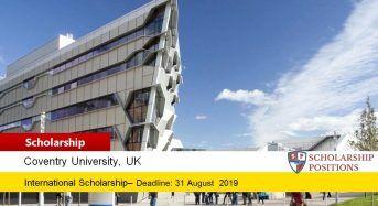 Coventry University European City of Sport Scholarship in UK, 2019