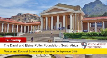 David and Elaine Potter Fellowships in South Africa, 2020
