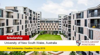 UNSW Scientia PhD Positionsfor International Students in Australia, 2020