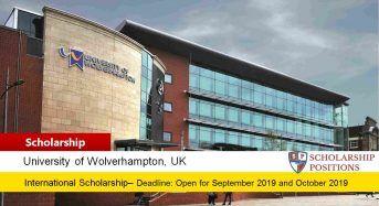 Vice-Chancellor's International Scholarship at University of Wolverhampton in UK, 2019-2020