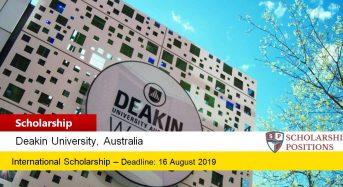 Deakin University HDR PhD funding for International Students in Australia, 2019