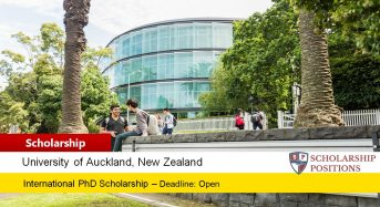 Dean's International Doctoral Scholarship at University of Auckland, New Zealand