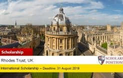 Fully-FundedSJPL Rhodes Scholarships at the University of Oxford in UK, 2019-2020