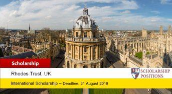 Fully-FundedSJPL Rhodes Scholarships at the University of Oxford in UK, 2019-2020