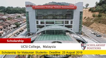 UCSI University Trust SACE International Scholarship in Malaysia, 2019