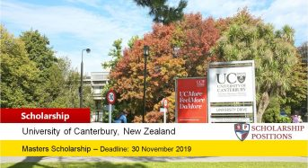 University of Canterbury Francis Small Scholarship in New Zealand, 2020