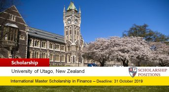 University of Otago Master of Finance funding for International Students in New Zealand