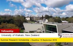 University of Waikato Summer Research Scholarships in New Zealand