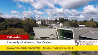 University of Waikato Summer Research Scholarships in New Zealand