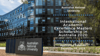 ANU College of Arts and Social Sciences International Academic Excellence masters programme 2020
