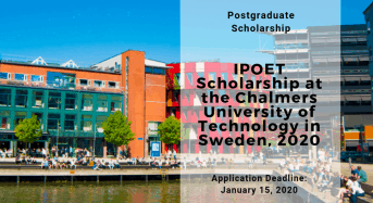 IPOET Scholarship at the Chalmers University of Technology in Sweden, 2020