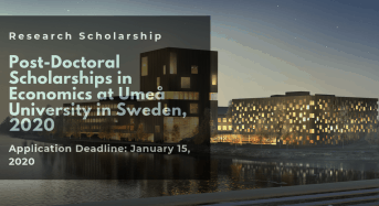 Post-DoctoralScholarships in Economics at Umea University in Sweden, 2020