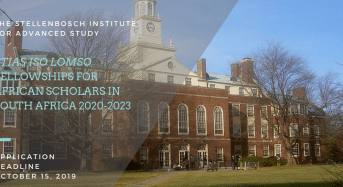 STIAS Iso Lomso Fellowships for African Scholars in South Africa 2020-2023