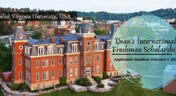 Dean's International Freshman Scholarship at West Virginia University, USA