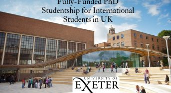 Fully-FundedPhD Studentship for International Students at University of Exeter in UK, 2020