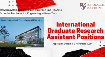 Korea University of Technology and Education International Graduate Research Assistant Positions 2020