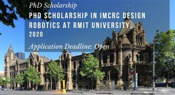PhD Scholarship in IMCRC Design Robotics at RMIT University, 2020