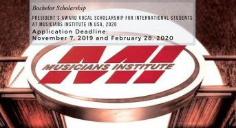 President's Award Vocal funding for International Students at Musicians Institute in USA, 2020