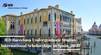 IED Barcelona Undergraduate Studies international awards in Spain, 2020