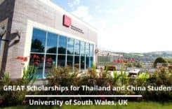 GREAT Scholarships for Thailand and China students at University of South Wales in the UK, 2020